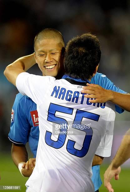 Yuto Nagatomo of FC Inter Milan and Takayuki Morimoto of Novara Calcio greet each other before the Serie A match between Novara Calcio and FC...