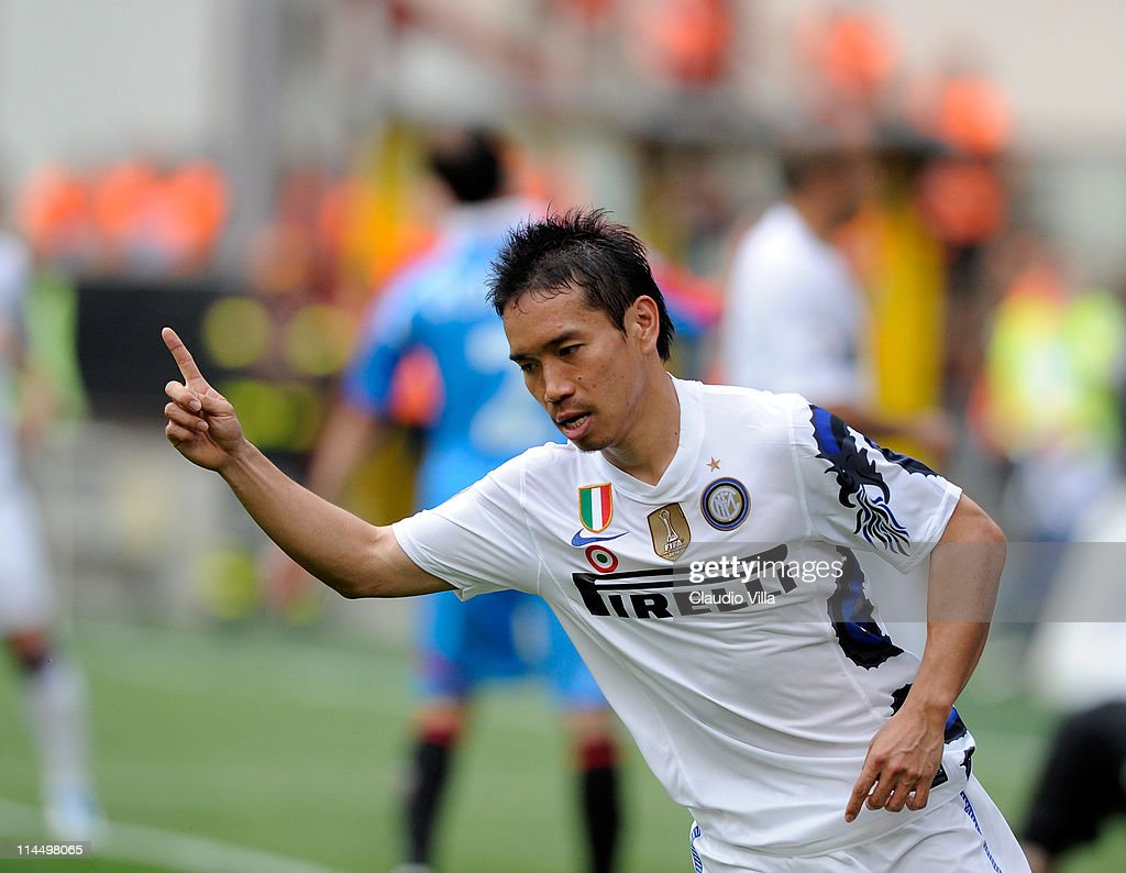 Yuto Nagatomo of FC Inter Milan celebrates scoring the third goal during the Serie A match between FC Internazionale Milano and Catania Calcio at Stadio Giuseppe Meazza on May 22, 2011 in Milan, Italy.