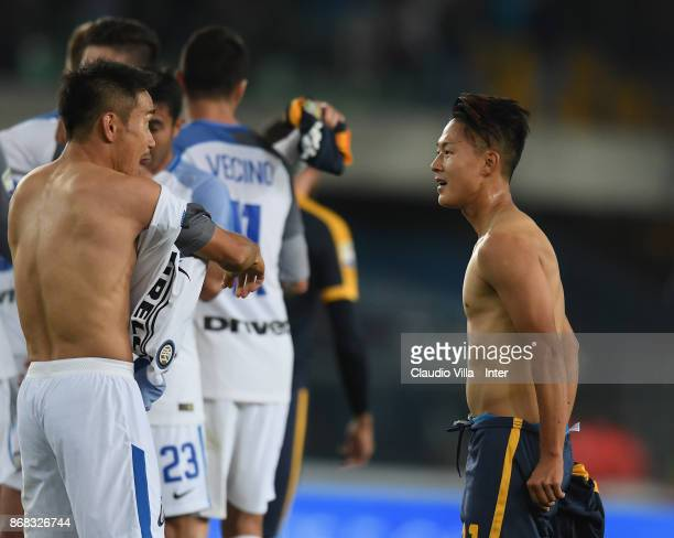 Yuto Nagatomo of FC Internazionale and Lee Seungwoo of Hellas Verona FC chat at the end of the Serie A match between Hellas Verona FC and FC...