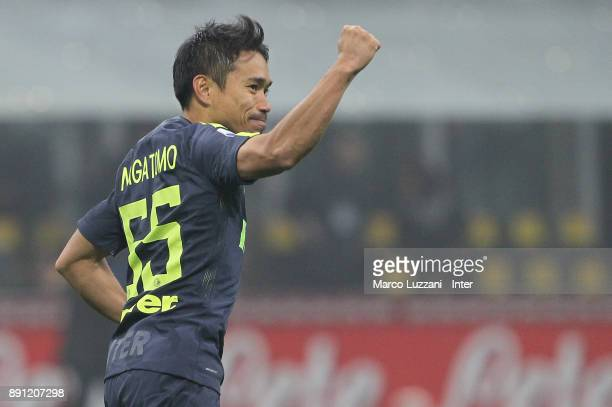 Yuto Nagatomo of FC Internazionale celebrate victory over Pordenone in a penalty shoot out during the TIM Cup match between FC Internazionale and...