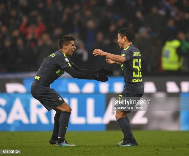 Yuto Nagatomo of FC Internazionale celebrates during the TIM Cup match between FC Internazionale and Pordenone at Stadio Giuseppe Meazza on December...