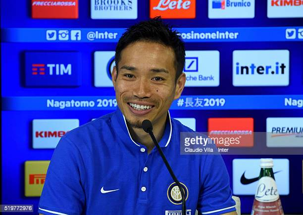 Yuto Nagatomo of FC Internazionale during the press conference at the club's training ground at Appiano Gentile on April 8 2016 in Como Italy