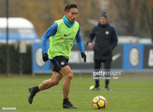 Yuto Nagatomo of FC Internazionale in action during the FC Internazionale training session at the club's training ground Suning Training Center in...