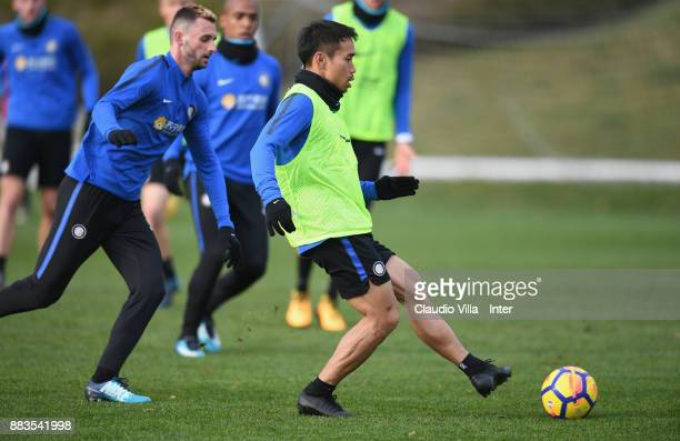 Yuto Nagatomo of FC Internazionale in action during the FC Internazionale training session at Suning Training Center at Appiano Gentile on December 1...
