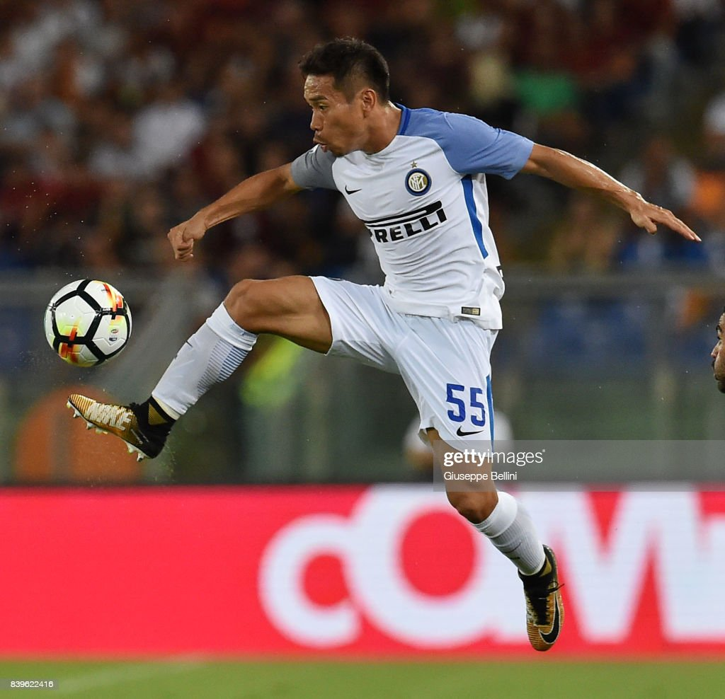Yuto Nagatomo of FC Internazionale in action during the Serie A match between AS Roma and FC Internazionale at Stadio Olimpico on August 26, 2017 in Rome, Italy.