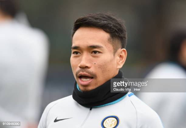 Yuto Nagatomo of FC Internazionale looks on during a FC Internazionale training session at Suning Training Center at Appiano Gentile on January 27...