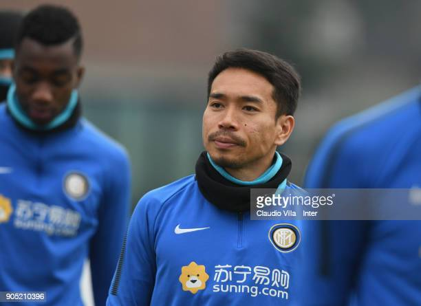 Yuto Nagatomo of FC Internazionale looks on during the FC Internazionale training session at Suning Training Center at Appiano Gentile on January 15...