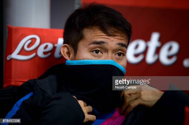 Yuto Nagatomo of FC Internazionale looks on prior to the Serie A football match between FC Internazionale and Atalanta BC FC Internazionale won 20...
