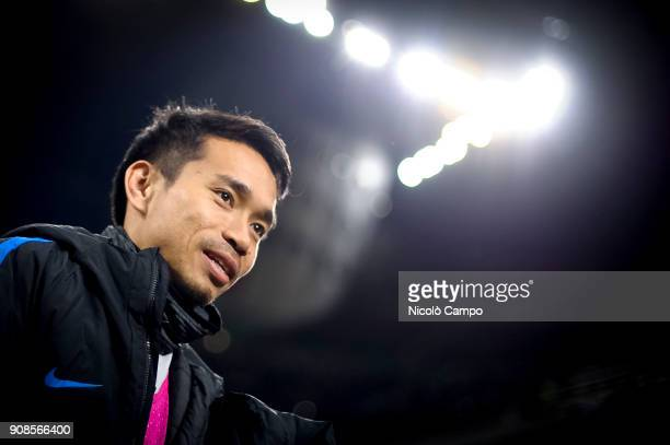 Yuto Nagatomo of FC Internazionale looks on prior to the Serie A football match between FC Internazionale and AS Roma The match ended in a 11 tie