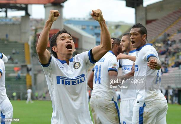Yuto Nagatomo of FC Internazionale Milano celebrates after Icardi's goal during the Serie A match between Cagliari Calcio and FC Internazionale at...