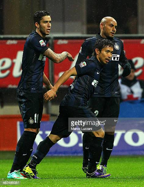 Yuto Nagatomo of FC Internazionale Milano celebrates with his teammates Cicero Moreira Jonathan and Gabriel Ricardo Alvarez after scoring his goal...