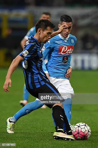 Yuto Nagatomo of FC Internazionale Milano in action against Jose Maria Callejon of SSC Napoli during the Serie A match between FC Internazionale...