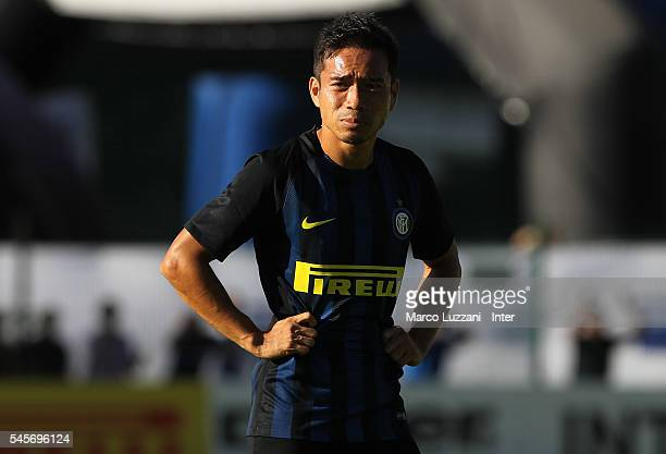 Yuto Nagatomo of FC Internazionale Milano looks on during day Four of the FC Internazionale training camp on July 9 2016 in Bruneck Italy