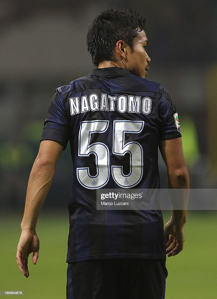 Yuto Nagatomo of FC Internazionale Milano looks on during the Serie A match between FC Internazionale Milano and Hellas Verona at Stadio Giuseppe Meazza on October 26, 2013 in Milan, Italy.