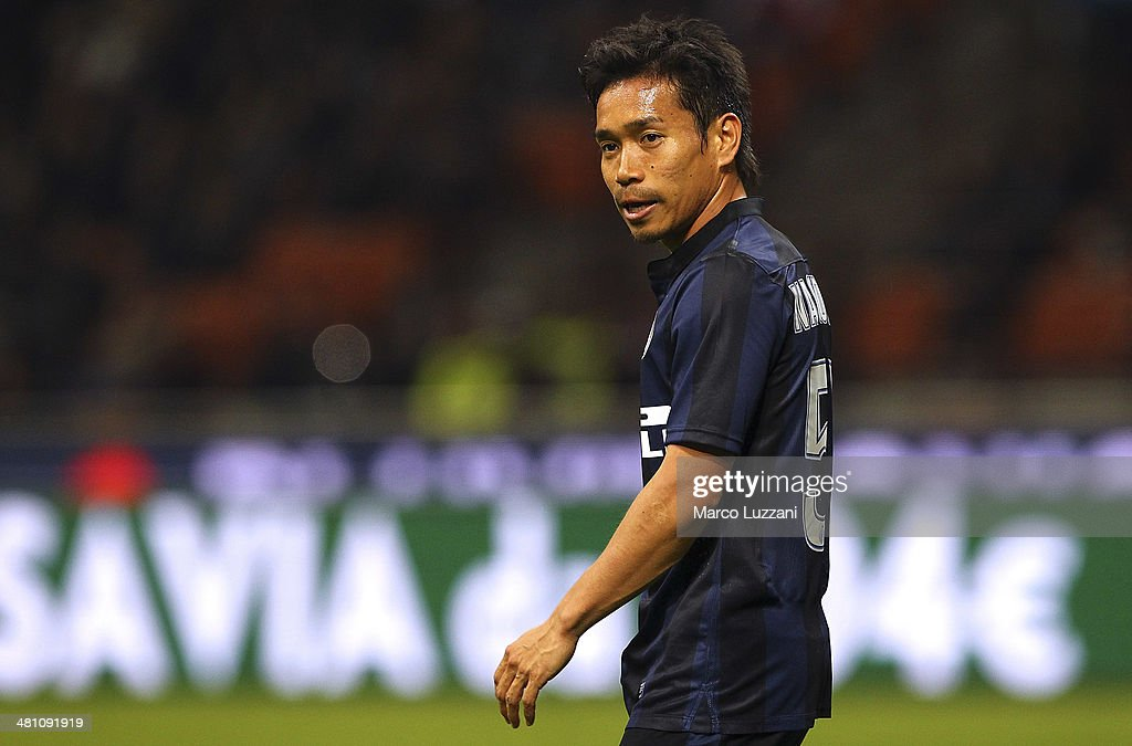 Yuto Nagatomo of FC Internazionale Milano looks on during the Serie A match between FC Internazionale Milano and Udinese Calcio at San Siro Stadium on March 27, 2014 in Milan, Italy.