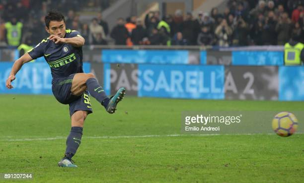 Yuto Nagatomo of FC Internazionale Milano scores his penalty kick during the TIM Cup match between FC Internazionale and Pordenone at Stadio Giuseppe...