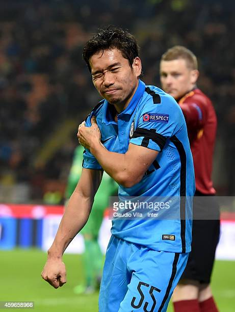 Yuto Nagatomo of FC Internazionale reacts to being injured during the UEFA Europa League Group F match between FC Internazionale Milano and FC Dnipro...