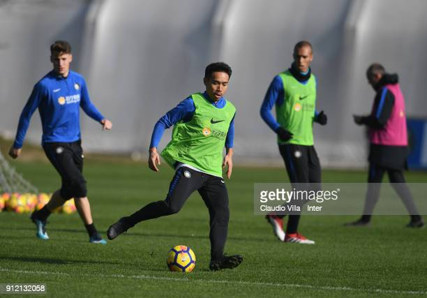 Yuto Nagatomo of FC Internazionale reatcs during the FC Internazionale training session at Suning Training Center at Appiano Gentile on January 30...