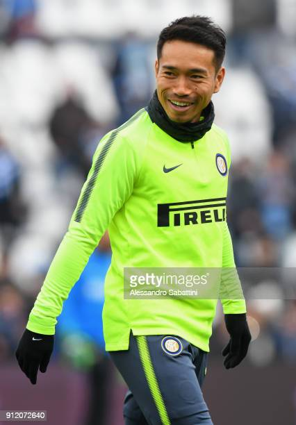 Yuto Nagatomo of FC Internazionale warms up before the serie A match between Spal and FC Internazionale at Stadio Paolo Mazza on January 28 2018 in...