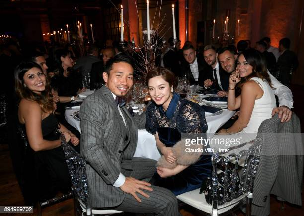 Yuto Nagatomo of FC Internazionale with his wife pose for a photo during a FC Internazionale Christams Party on December 18 2017 in Milan Italy