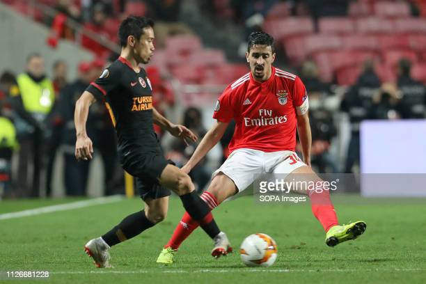 Yuto Nagatomo of Galatasaray AS vies for the ball with André Almeida of SL Benfica during the Europa League 2018/2019 footballl match between SL...