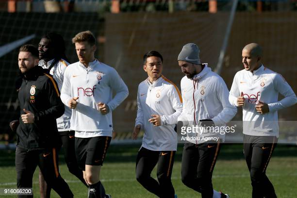 Yuto Nagatomo of Galatasaray attends a training session ahead of Turkish Super Lig match against Antalyaspor at Florya Metin Oktay Facilities in...