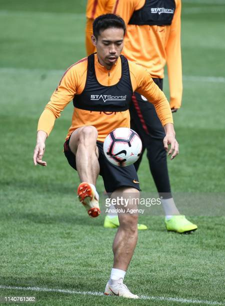 Yuto Nagatomo of Galatasaray attends a training session ahead of the Turkish Super Lig derby between Galatasaray and Besiktas on May 5 at Florya...