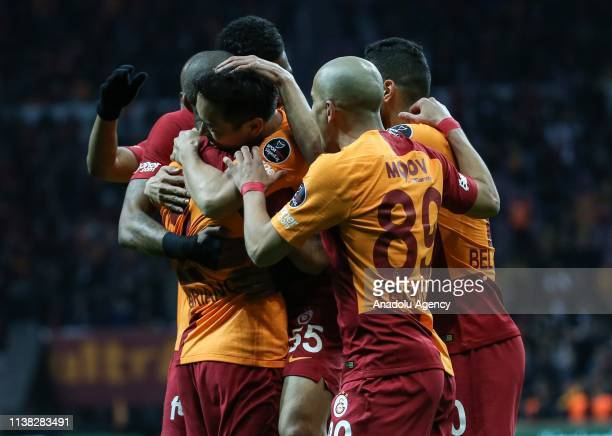 Yuto Nagatomo of Galatasaray celebrates after scoring a goal with his team mates during Turkish Super Lig soccer match between Galatasaray and...