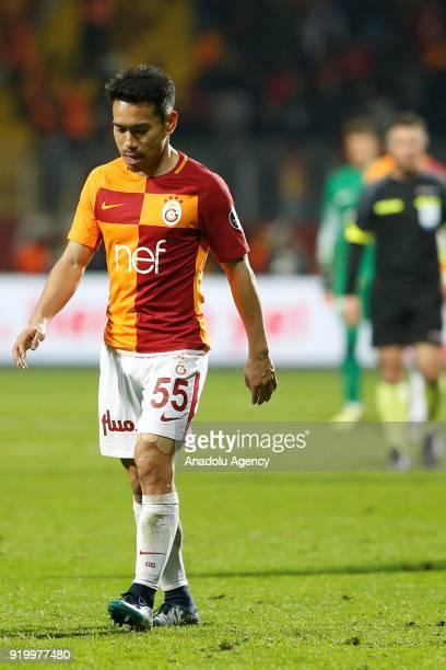 Yuto Nagatomo of Galatasaray gestures after the Turkish Spor Toto Super Lig soccer match between Kasimpasa and Galatasaray at the Recep Tayyip...