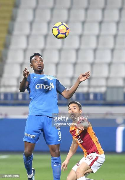 Yuto Nagatomo of Galatasaray in action against Fode Koita of Kasimpasa during Turkish Spor Toto Super Lig soccer match between Kasimpasa and...