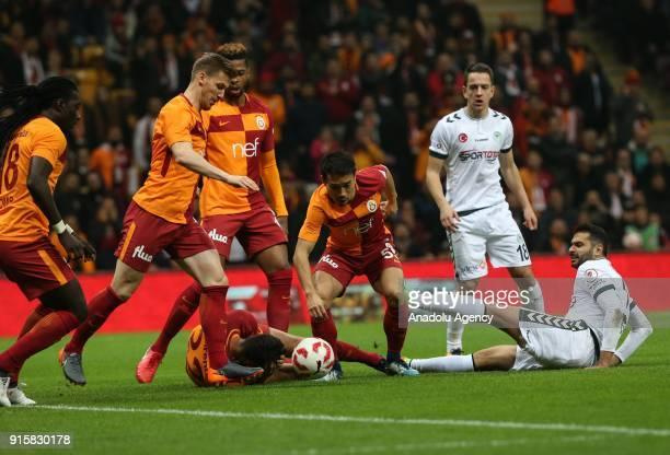Yuto Nagatomo of Galatasaray in action against Volkan Findikli of Atiker Konyaspor during the Turkish Ziraat Cup Quarter Final second leg match...