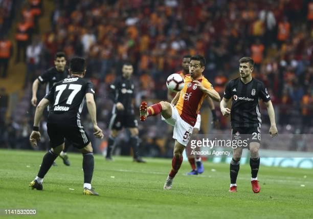 Yuto Nagatomo of Galatasaray in action during the Turkish Super Lig week 31 football match between Galatasaray and Besiktas at Turk Telekom Stadium...