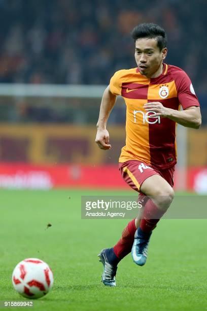 Yuto Nagatomo of Galatasaray in action during the Turkish Ziraat Cup Quarter Final second leg match between Galatasaray and Atiker Konyaspor at Turk...