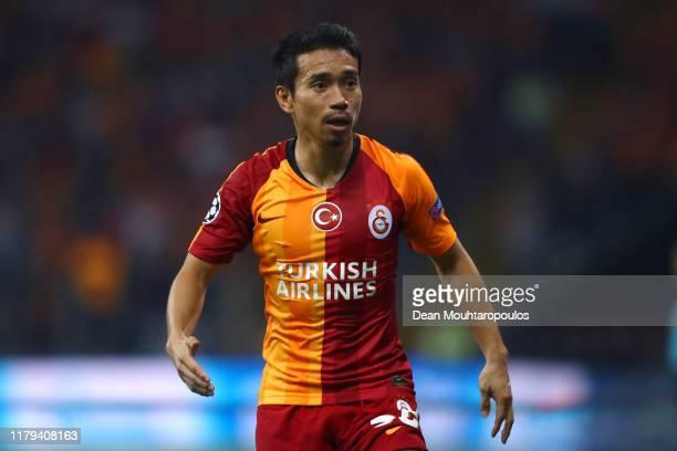 Yuto Nagatomo of Galatasaray in action during the UEFA Champions League group A match between Galatasaray and Paris Saint-Germain at Turk Telekom...