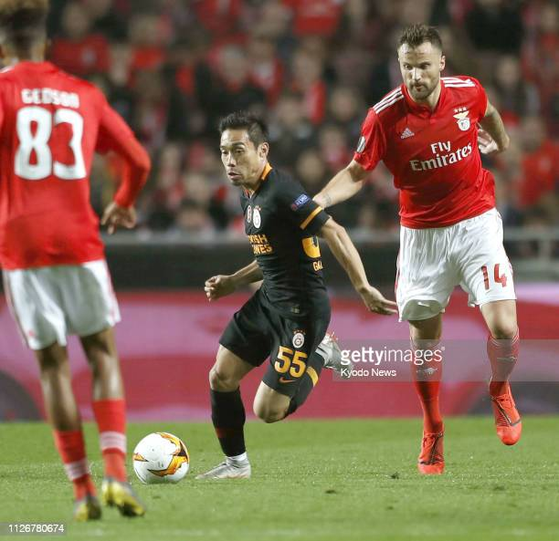 Yuto Nagatomo of Galatasaray is pictured during the first half of a 00 Europa League match against Benfica in Lisbon Portugal on Feb 22 2019 ==Kyodo