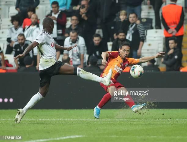 Yuto Nagatomo of Galatasaray Istanbul controls the ball during the Sueper Lig match between Besiktas Istanbul and Galatasaray Istanbul on October 27,...