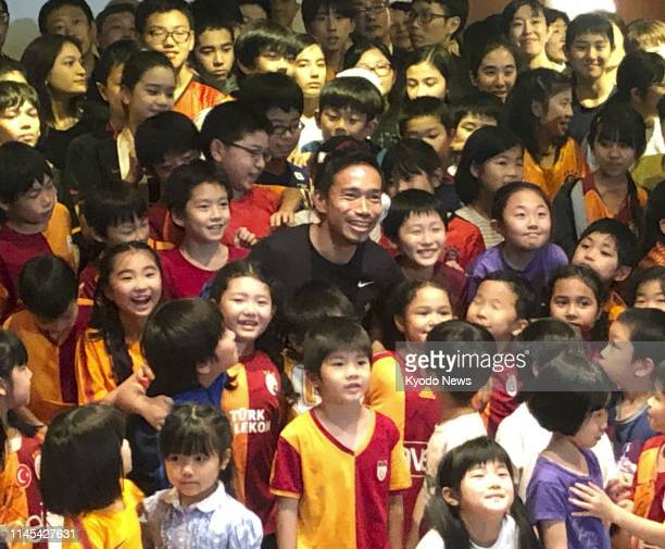 Yuto Nagatomo of Galatasaray poses during an event for students attending Japanese schools in Istanbul on May 21 2019 ==Kyodo