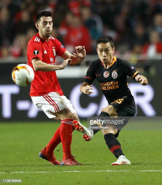 Yuto Nagatomo of Galatasaray shoots during the first half of a 00 Europa League match against Benfica in Lisbon Portugal on Feb 22 2019 ==Kyodo