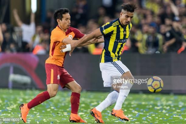 Yuto Nagatomo of Galatasaray SK Nabil Dirar of Fenerbahce SK during the Turkish Spor Toto Super Lig match Fenerbahce AS and Galatasaray AS at the...