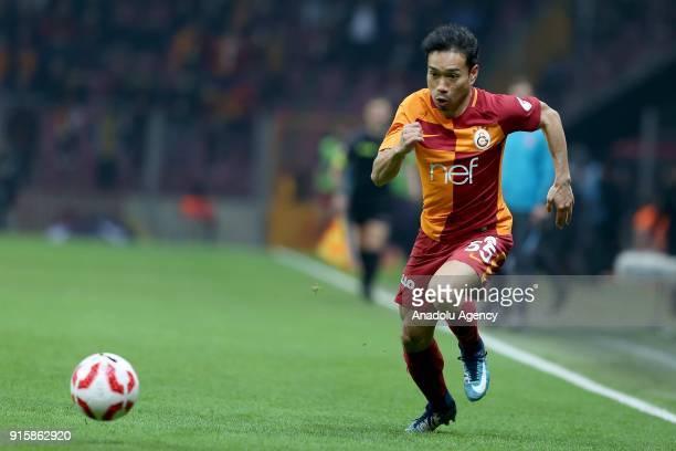 Yuto Nagatomo of in action during the Turkish Ziraat Cup Quarter Final second leg match between Galatasaray and Atiker Konyaspor at the Turk Telekom...