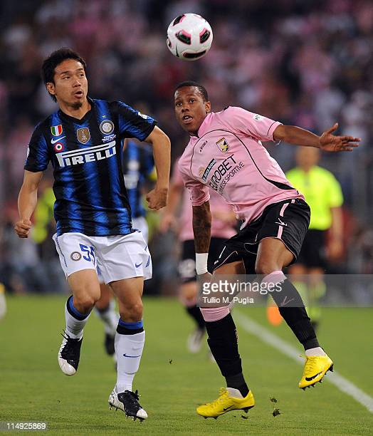 Yuto Nagatomo of Inter Milan and Abel Hernandez of Palermo compete for the ball during the Tim Cup final between FC Internazionale Milano and US...
