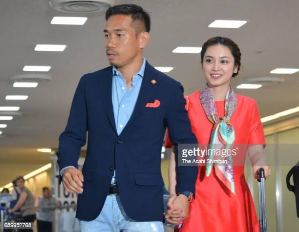 Yuto Nagatomo of Internazionale Milano and his wife Airi Taira are seen on arrival at Narita International Airport on May 30 2017 in Narita Chiba...