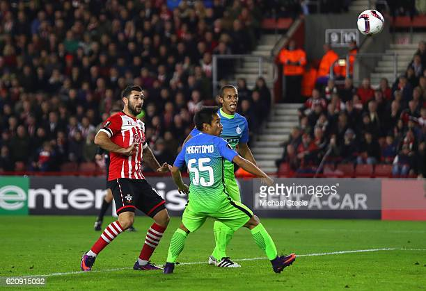 Yuto Nagatomo of Internazionale scores RSC Anderlecht own goal and Southampton's second during the UEFA Europa League Group K match between...