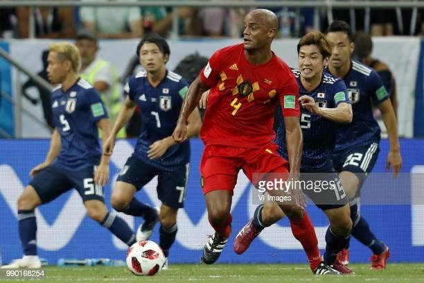 Yuto Nagatomo of Japan Gaku Shibasaki of Japan Vincent Kompany of Belgium Yuya Osako of Japan Maya Yoshida of Japan during the 2018 FIFA World Cup...