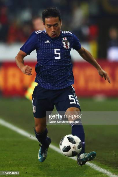 Yuto Nagatomo of Japan in action during the international friendly match between Belgium and Japan held at Jan Breydel Stadium on November 14 2017 in...