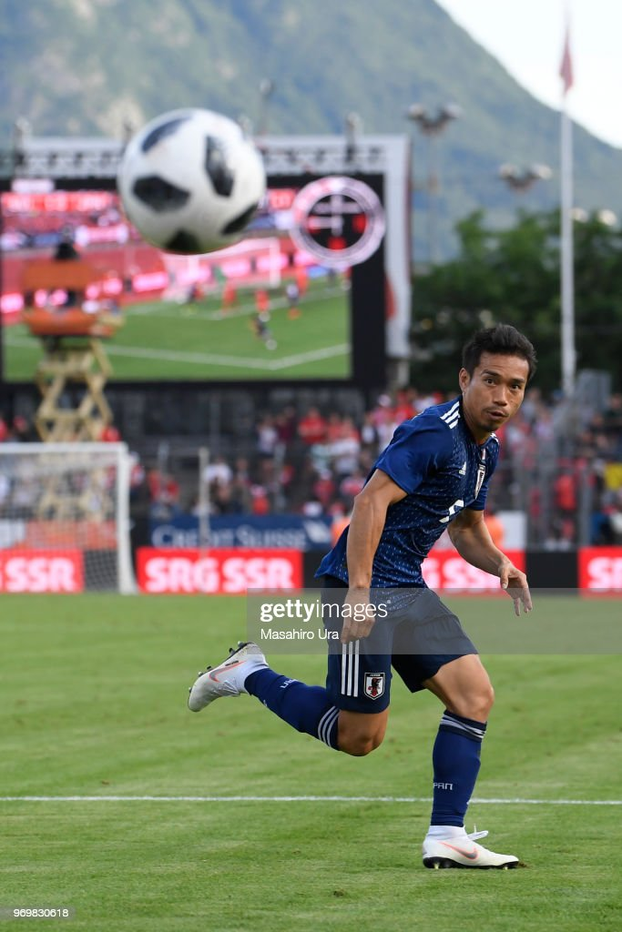 Yuto Nagatomo of Japan in action during the international friendly match between Switzerland and Japan at the Stadium Cornaredo on June 8, 2018 in Lugano, Switzerland.