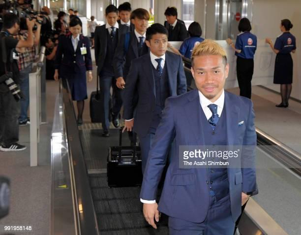 Yuto Nagatomo of Japan smiles on arrival at Narita International Airport after the FIFA World Cup on July 5 2018 in Narita Chiba Japan
