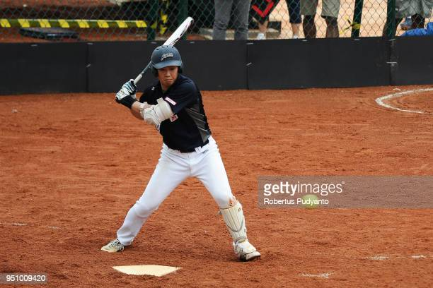 Yuto Nakajima of Japan bats during the qualification match between Indonesia and Japan in the 10th Asian Men's Softball Championship on April 25 2018...
