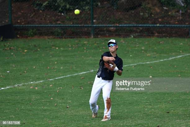Yuto Nakajima of Japan plays during the qualification match between Japan and Hong Kong in the 10th Asian Men's Softball Championship on April 27...