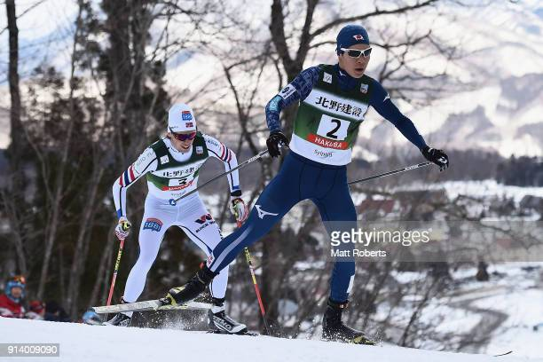Yuto Nakamura of Japan competes in the Individual Gundersen LH/10km during day two of the FIS Nordic Combined World Cup Hakuba on February 4 2018 in...